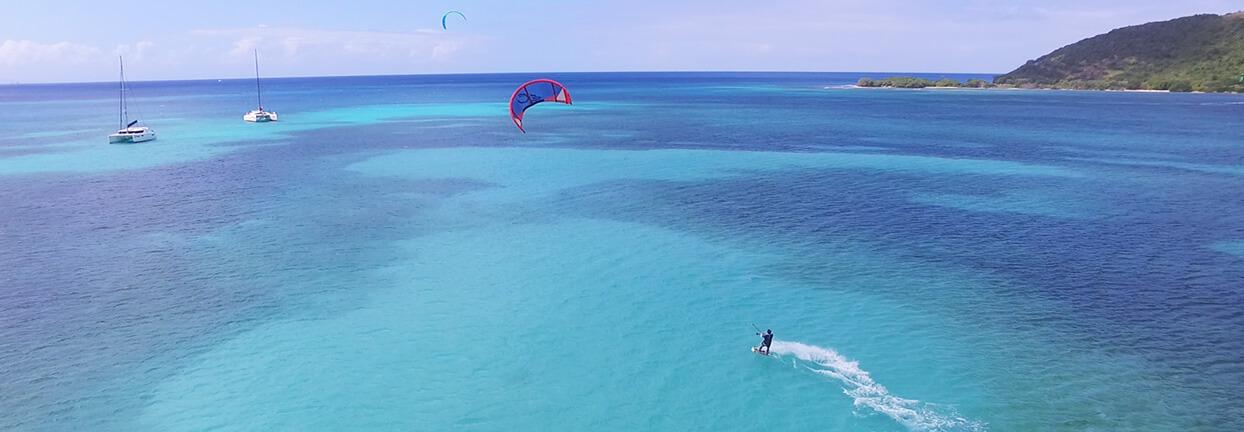Croisière Kite Surf en catamaran îles Grenadines départ Martinique